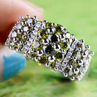 Goodly Round Cut Beauty Peridot Gemstones Jewelry Gift Silver Ring Size 9 10