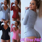 Womens Sexy Ribbed Front Plunge Tie Stretch Leotard Tops Knitted Jumper Bodysuit