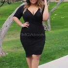 Women's Girls Sexy Deep V Neck Side Zip Design Bodycon Party Dress Plus Size