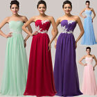 ALL SIZE BEADED Maxi Prom Gown Bridesmaid Evening Party A-Line Masquerade Dress