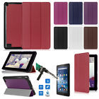 For Amazon Kindle Fire 7 2015 Magnetic Leather Stand Case Cover + Tempered Glass
