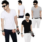 Fashion Men Slim Fit Cotton V-Neck Short Sleeve Casual T-Shirt Tops 3Color