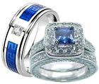 His and Hers Blue Sapphire Cz Sterling Silver & Stainless Steel Wedding Ring Set