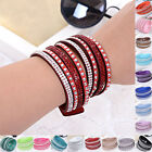 New Hot Crystals 2wrap Around PU Leather Adjustable Bracelets