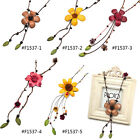 Flower Floral Pendant Synthetic Leather Women Handmade Charm Necklace Fashion