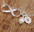 Personalized Sterling Silver Infinity Love White Freshwater Pearl Bracelet w Box