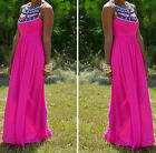 Women's Vintage Geometric Sleeveless Crew Neck Party Chiffon Full-Length Dress