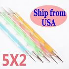 WITH DIFFERENT COLOR PROFESSIONAL NAIL ART DOTTING PENS STRONG PACKING  5X2WAYS