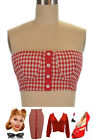 Red GINGHAM CHECK Picnic PINUP 50s Style Bandeau Tube Top CROP TOP w/BUTTONS