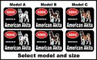 2 Warning protected by American Akita guard dog breed decals sticker stickers