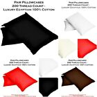 100% EGYPTIAN COTTON PILLOWCASES PAIRS 200 THREAD COUNT PILLOWCASE