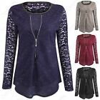 LADIES ZIP FRONT CHIFFON INSERT FLORAL LACE BLOUSE TOP WOMENS LONG SLEEVE SHIRT