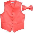 New Men's Formal Vest Tuxedo Waistcoat Coral with Bowtie wedding prom party