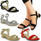 WOMENS LADIES STRAPPY SANDALS FLAT LOW BLOCK HEEL SUMMER OPEN TOE SHOES SIZE NEW