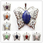 Beautiful Wrapped mixed gemstone & Silver Plated Butterfly Pendant Bead DL027