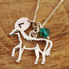 925 Sterling Silver Personalised Filigree Horse Pendant Necklace With Birthstone