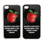Apple A Day - Rubber and Plastic Phone Cover Case - Funny Motivational Design