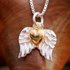 925 Sterling Silver Angel Wings & Gold Heart Pendnat Necklace Handcraft w Box