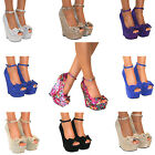 New Womens Platform Wedge High Heel Peep Toe Shoes Sandals Size