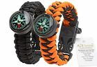 Paracord Bracelet w/ Compass  2pcs Survival Gear for Camping Hiking & Outdoors