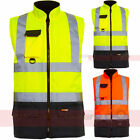 Hi Viz 2 Tone Reversible Bodywarmer Waterproof Warm Mens Workwear Security Vest