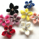 40PCS Velvet Ribbon Flowers Bows W/Rhinestone Appliques Wedding 25mm Mix