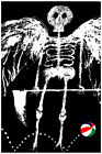 2043 B & W skeleton with wings, beach ball quality POSTER. Wall Decorative Art.