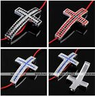 1x Alloy Curved Side Ways Crystal Rhinestones Cross Bracelet Connector Beads DIY