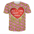 New Fashion Women/Mens Pink Lovely Pizza 3D Print Casual Graphic T-Shirt G4