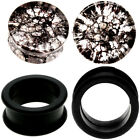 2 PAIRS-SMOKED SHATTERED QUARTZ & BLACK SILICONE TUNNELS Ear Plugs-Ear Gauges