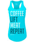 RokFit Coffee Lift Meat Repeat Tank Blue Weightlifting Fitness Training Crossfit
