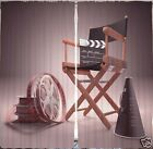 Director CURTAIN PANELS Chair Movie Reels Living Room Win...