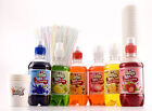 Large Snow Cone Kit, includes Six Flavours, Cones & Spoon Straws Slush Syrup