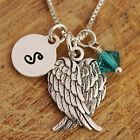 925 Sterling Silver Personalised Closed Angel Wings Pendant Necklace &Birthstone