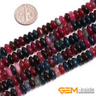"""4x8mm Mixed Agate Gemstone Rondelle Spacer Beads For Jewelry Making 15"""" Yao-Bye"""