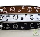 "1 metre dog brown/white/black bow Grosgrain RIBBON lot 16mm(5/8"")"