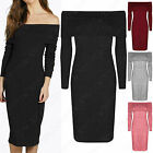 NEW LADIES BARDOT MIDI RIBBED KNIT DRESS WOMENS BODYCON RIBBED OFF SHOULDER TOP