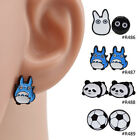 Women Enamel Cartoon Cute Anime Totoro Panda Animal Ear Stud Earrings Fashion