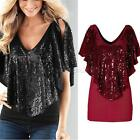 Women Lady Sexy Deep V Neck Sparkle Glitter Tank Short Sleeve Top T-Shirt Blouse