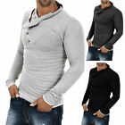 New Mens Luxury Muscle Polo Shirts V Neck Slim Fit Long Sleeve Tee T-Shirt Hot