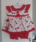 BABY STRAWBERRY DRESS GIRLS FRILLY SUMMER OUTFIT KNICKERS HEADBAND 0-3 3-6 6-9