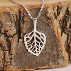 925 Sterling Silver Filigree Birch Leaf Pendant Necklace Handcrafted w Gift Box