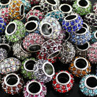 Wholesale Rhinestone Crystal Big Hole European Charm Beads Findings Fit Bracelet