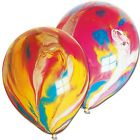 Rainbow Birthday Party Balloons FUNKY COLOURED Marble Effect Decoration