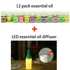 Essential Oil Set - 12 pack - With LED Diffuser 100% Pure Natural Aromatherapy