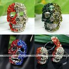 Fashion Adjustable Punk Crystal Rhineston Skull Head Finger Ring Punk Jewelry