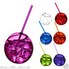 2 x 580ml Plastic Party Beaker Tumbler & Straw Cocktail Juice Cup Ball Fish Bowl