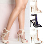 Womens ladies high stiletto gold studded heel ankle buckle strap party size