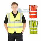 Safety Hi Viz Vest PRINTED Warrior Hi Vis Waistcoat EN471 Class 2