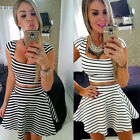 Fashion sexy cute women's two-piece striped cocktail evening party mini dress